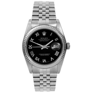 Pre-owned Rolex Men's Datejust Black Dial Stainless Steel Automatic Watch