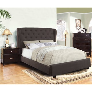 Furniture of America Draviosa Modern 2-Piece Flax Platform Bed with Nightstand Set