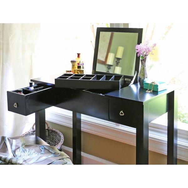 Charming Baxton Studio Marie Black Vanity Table/Dressing Table