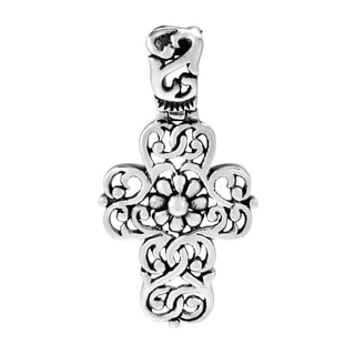 Handmade Intertwine Flower Swirl Filigree Cross 925 Silver Pendant Thailand