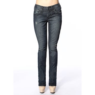 Stitch's Women's Worn Blue Denim Slim Fit Straight Jeans