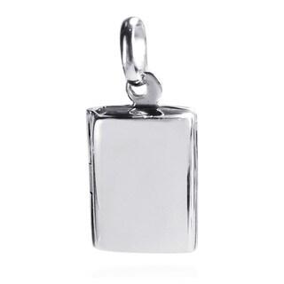 Handmade Charming Rectangle Plain Locket .925 Silver Pendant (Thailand)