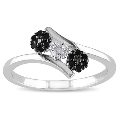Miadora Sterling Silver Black and White Diamond Flower Ring