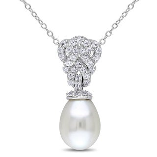 Miadora Sterling Silver Pearl and Created White Sapphire Drop Necklace (9-9.5 mm)