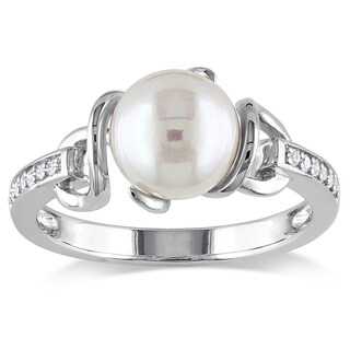 Miadora Sterling Silver Freshwater White Pearl and Diamond Accent Ring (8-8.5 mm) (4 options available)
