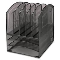 Lorell Black Steel Mesh Desktop Organizer