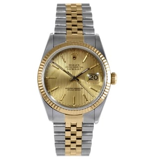 Pre-owned Rolex Men's Datejust Stainless Steel/ Yellow Gold Fluted Bezel Watch