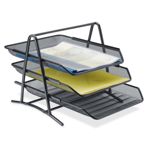 Lorell LLR90206 Steel Mesh 3-tier Mesh Desk Tray