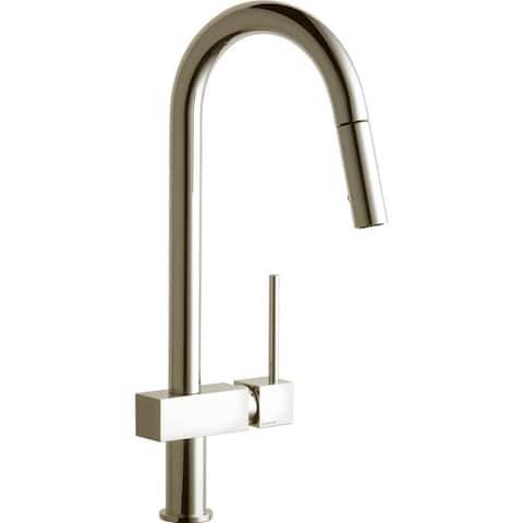 Elkay Avado Single Hole Kitchen Faucet with Pull-down Spray and Lever Handle Brushed Nickel