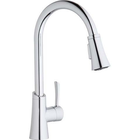 Elkay Gourmet Single Hole Kitchen Faucet with Pull-down Spray and Forward Only Lever Handle Chrome