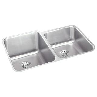 Elkay Gourmet (Lustertone) Stainless Steel Double Bowl Undermount Sink Kit