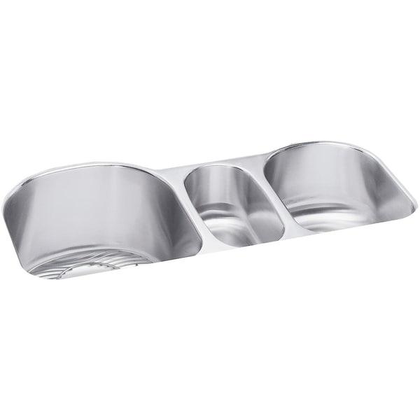 """Elkay Lustertone Stainless Steel 39-1/2"""" x 20"""" x 10"""", Triple Bowl Undermount Sink Kit"""