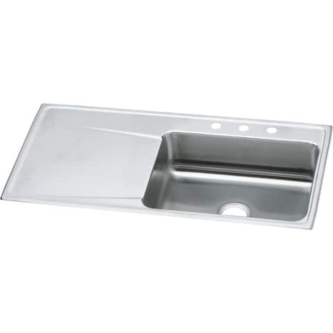 "Elkay Lustertone Classic Stainless Steel 43"" x 22"" x 7-5/8"", Single Bowl Drop-in Sink with Drainboard"