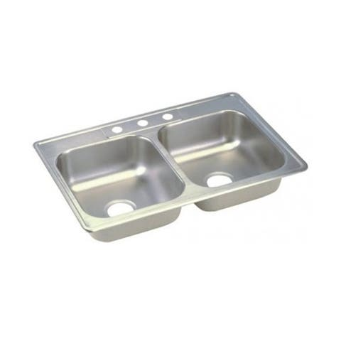 "Elkay Dayton Stainless Steel 33"" x 19"" x 6-7/16"", Equal Double Bowl Top Mount Sink"
