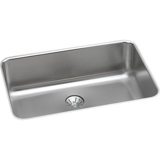 "Elkay Lustertone Stainless Steel 26-1/2"" x 18-1/2"" x 8"", Single Bowl Undermount Sink with Perfect Drain"