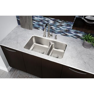 "Elkay Lustertone Stainless Steel 32-1/16"" x 18-1/2"" x 9"", 40/60 Double Bowl Undermount Sink with Aqua Divide"