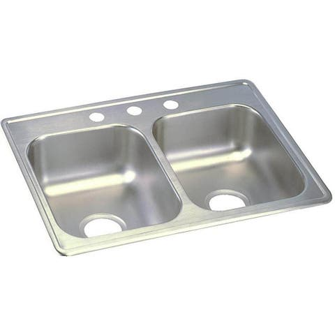 "Elkay Dayton Stainless Steel 25"" x 19"" x 6-5/16"", Equal Double Bowl Top Mount Sink"