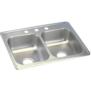 """Link to Elkay Dayton Stainless Steel 25"""" x 19"""" x 6-5/16"""", Equal Double Bowl Top Mount Sink Similar Items in Sinks"""