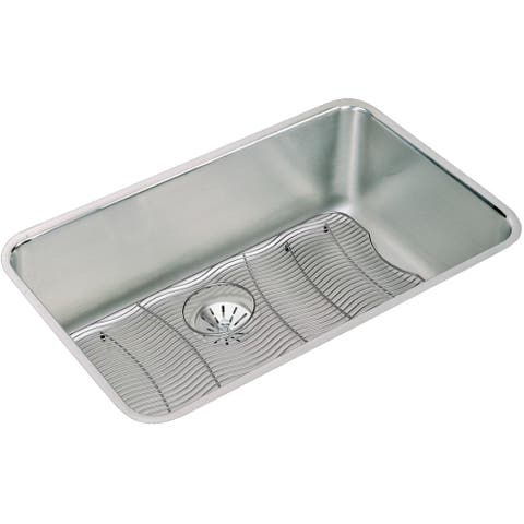 """Elkay Lustertone Stainless Steel 30-1/2"""" x 18-1/2"""" x 10"""", Single Bowl Undermount Sink Kit with Perfect Drain"""