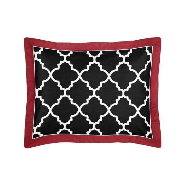 Sweet Jojo Designs Trellis Red/ Black/ White Lattice Print Pillow Sham