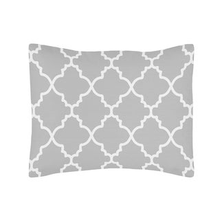 Sweet Jojo Designs Trellis Grey/ White Lattice Print Pillow Sham