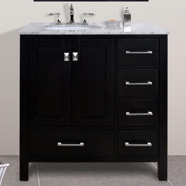 36 inch malibu espresso single sink bathroom vanity with carrara marble top free shipping for 36 inch espresso bathroom vanity
