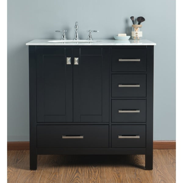 Shop 36 inch malibu espresso single sink bathroom vanity with carrara marble top free shipping for 36 inch espresso bathroom vanity