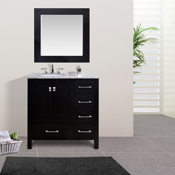 Shop 36-inch Malibu Espresso Single Sink Bathroom Vanity ...