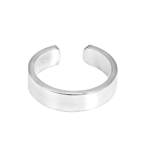 Handmade Shiny Plain 4mm Wide Band Sterling Silver Toe or Pinky Ring (Thailand)