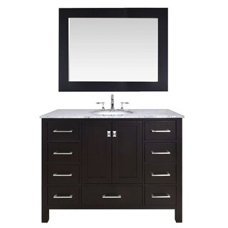 48-inch Malibu Espresso Single Sink Bathroom Vanity Cabinet With 47-inch Mirror
