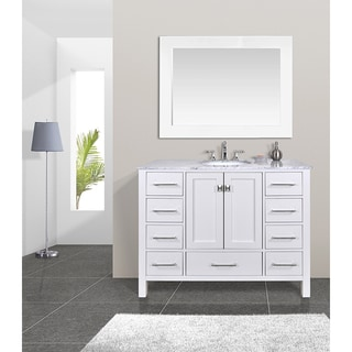 48-inch Malibu Pure White Single Sink Bathroom Vanity Cabinet With 47-inch Mirror