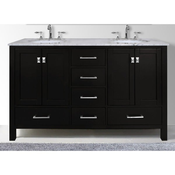 60 Inch Malibu Espresso Double Sink Bathroom Vanity With