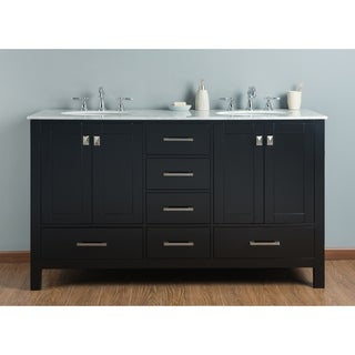 60-inch Malibu Espresso Double Sink Bathroom Vanity with Carrara Marble Top