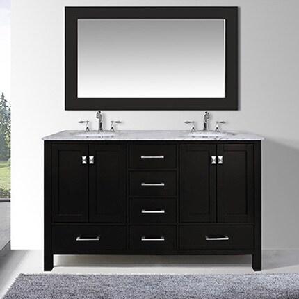 60 Inch Malibu Espresso Double Sink Bathroom Vanity Cabinet With 59 Mirror