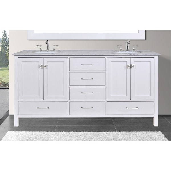 Malibu 60 Inch Carrara Marble Top Pure White Double Sink Bathroom Vanity