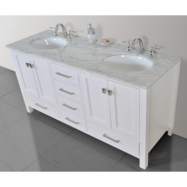 stufurhome 60 inch malibu pure white double sink bathroom vanity free shipping today