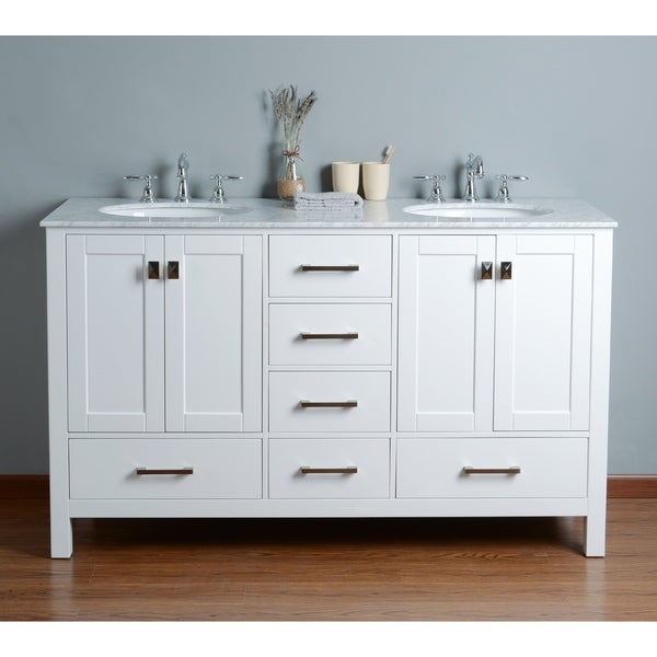 Shop Stufurhome 60 Inch Malibu Pure White Double Sink Bathroom