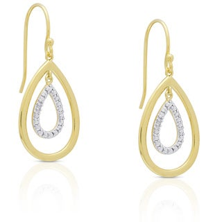 Finesque Goldplated Sterling Silver Diamond Accent Dangle Earrings