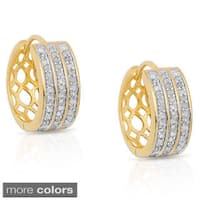 Finesque Sterling Silver 1/2ct TDW Diamond Hoop Earrings