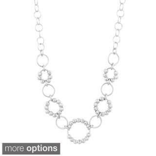 La Preciosa Sterling Silver or Tri-tone Diamond-cut Moonbeads Circle Link Necklace