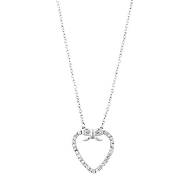 La Preciosa Sterling Silver Cubic Zirconia Bow and Heart Necklace