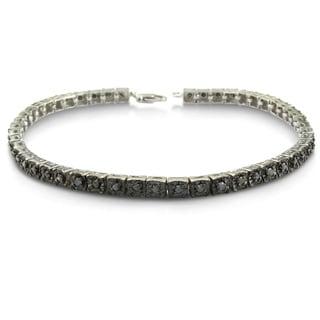 Sterling Silver 1ct TDW Black Diamond 7-inch Tennis Bracelet