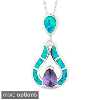 La Preciosa Sterling Silver Blue Opal and Cubic Zirconia Teardrop Pendant