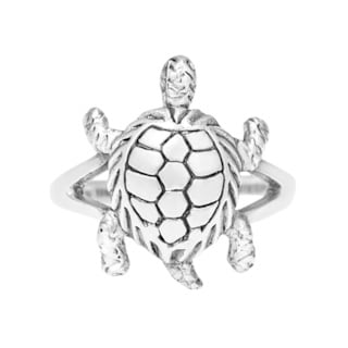 Handmade Charismatic Lucky Turtle Motif .925 Sterling Silver Ring (Thailand)