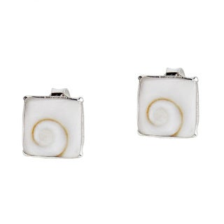 8mm Square Swirl Shiva Shell .925 Silver Stud Earrings (Thailand)
