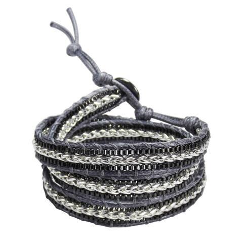 Handmade Braided Leather Triple Wrap Bracelet (Thailand)