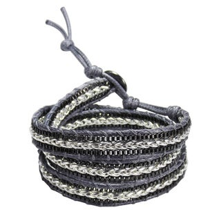 Rocking Metal Chain Braided Leather Triple Wrap Bracelet (Thailand)