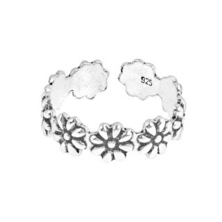 Handmade Stylish Flowers Wrap .925 Sterling Silver Toe or Pinky Ring (Thailand)