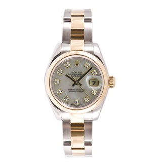 Pre-owned Rolex Women's Datejust Two-tone Mother Of Pearl Diamond Dial Watch