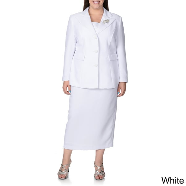 Giovanna Signature Women's Plus 2-piece Skirt Suit with Broach